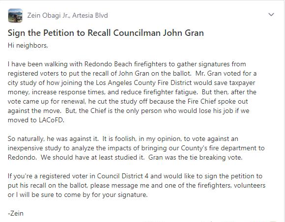 Zein Obaji's Nextdoor.com Post - Kicking off their Recall Petition Campaign.